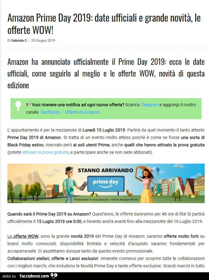 aaedcd1fa73bee Amazon prime day 2019: date ufficiali e grande novità, le offerte wow