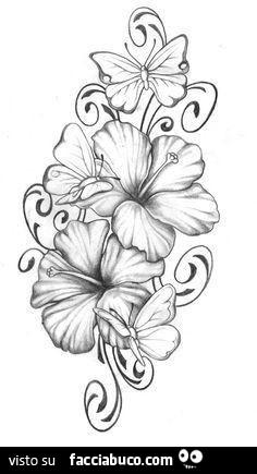 Disegni Di Fiori.Disegno Di Fiori E Farfalle Facciabuco Com