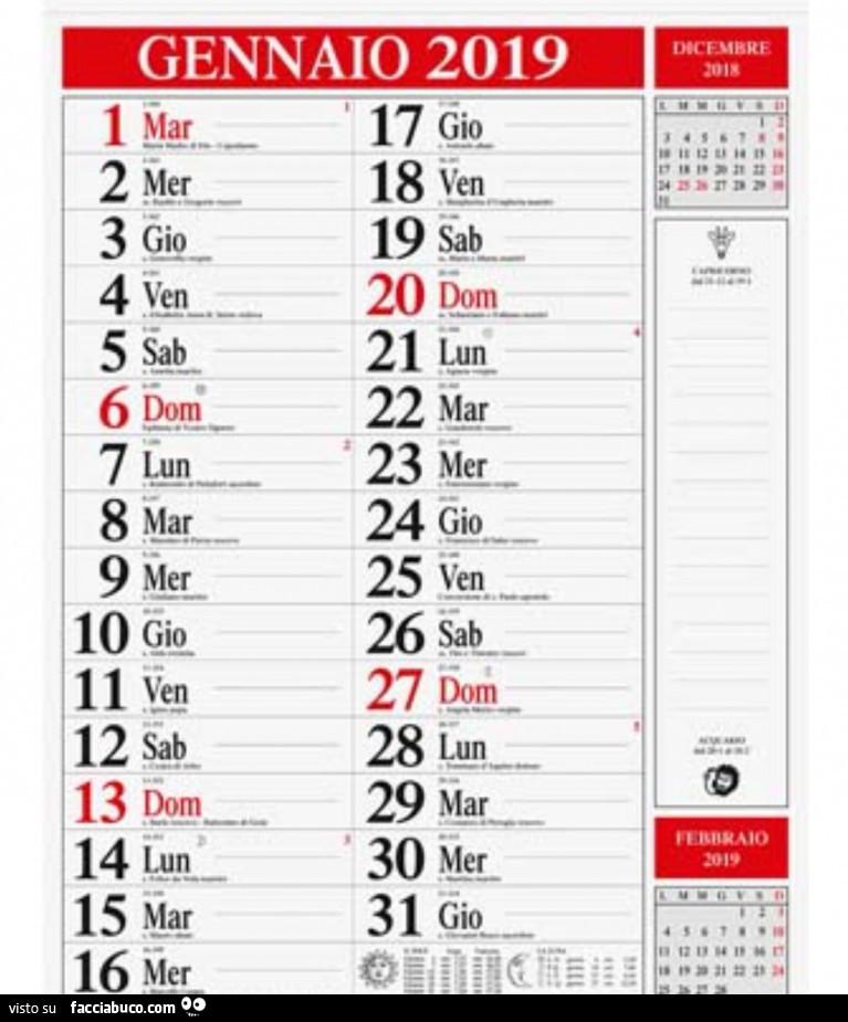Calendario Gennaio.Calendario Gennaio 2019 Facciabuco Com